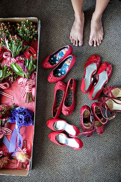 red bridesmaid shoes