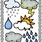 This Weather Clip Art Bundle includes 11 different weather pics in color and in line art drawing!  Pieces Include:  white cloud  lightning  partly clou...