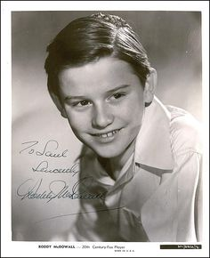 child star.....Roddy McDowell. I loved Roddy in Lassie Come Home! He was a brilliant actor that never was recognized for his acting...