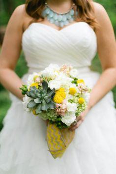 succulent wedding bouquet with burlap and chevron striped wrap http://www.weddingchicks.com/2013/09/16/modern-texas-wedding-2/
