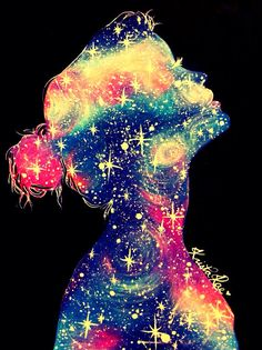 "This would make a cool painting! ""we are all made of stars - Galaxy Girl Print by KristaRaeArt"""