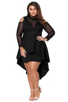 Black Sheer Mesh Trim Hi-Lo Peplum Bodycon Dress