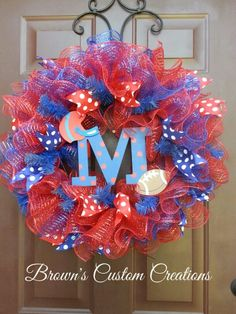 #Red & blue deco mesh, #Ole Miss deco mesh wreath #college wreaths #football wreaths #team wreaths