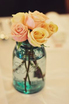 roses in a mason jar... so casual and classy.