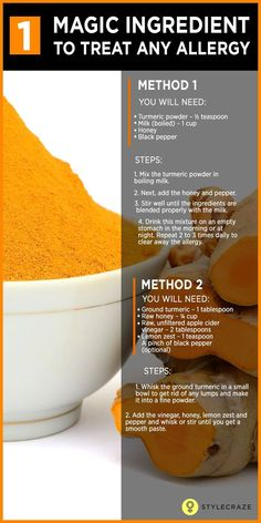 Are you looking for an effective home remedy for an allergy? Then turmeric is the best option you can go for. Would you like to know more? Keep reading!  #Allergies Natural Remedies For Allergies, Natural Cough Remedies, Natural Health Remedies, Natural Cures, Herbal Remedies, Asthma Remedies, Natural Treatments, Natural Healing, Natural Allergy Remedies