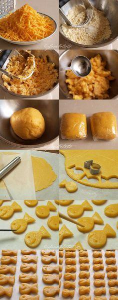 homemade goldfish crackers, homemade cheese crackers, cheese fish crackers, DIY…