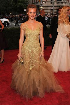 The 2012 Costume Institute Gala -   Leighton Meester, in Marchesa, with Harry Winston jewels.