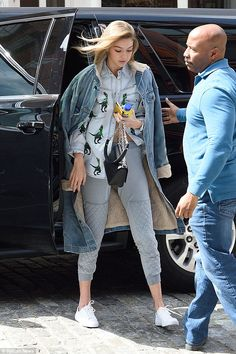 Dino-phwoar! While combining denim items can often be seen as a fashion faux-pas, Gigi, 20, managed to look the image of cool in triple denim