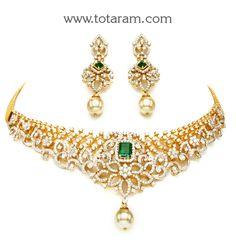 18K Gold Choker Diamond Necklace & Drop Earrings Set with Ruby,Onyx & South Sea Pearls: Totaram Jewelers: Buy Indian Gold jewelry & 18K Diamond jewelry