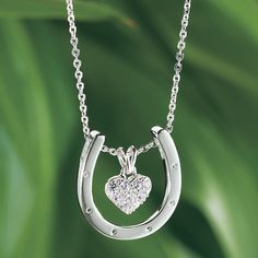 Sterling Heart in Horseshoe Pendant - Horse Themed Gifts, Clothing, Jewelry and Accessories all for Horse Lovers | Back In The Saddle