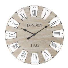 Grande horloge pendule murale en bois - Style vintage et rétro - Diamètre 70 cm