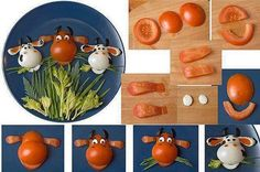 Food Art for Kuttees - Cow face with Boiled Egg and Tomato Cute Food, Good Food, Fingerfood Party, Party Nibbles, Food Decoration, Eating Organic, Boiled Eggs, Hard Boiled, Food Humor