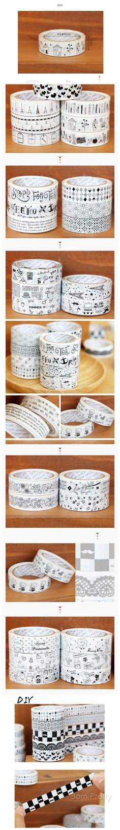 $2.66 1pc Beautiful Cute Black And White Decoration Tape DIY Stickers OPP Tape - BornPrettyStore.com Use code DUG10 to get 10% Best Gel Nail Polish, Us Nails, Diy Stickers, Nail Stamping, White Decor, Nail Artist, Tape, Black And White, Mugs