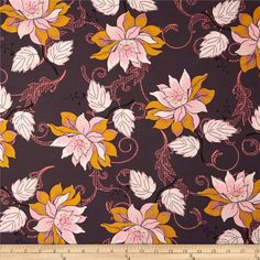 Designed by Pat Bravo for Art Gallery Fabrics, this cotton print is perfect for quilting, apparel and home decor accents.  Colors include lack, dark raisin, cream, pink, coral, gold and mauve.  Art Gallery Fabric features 200 thread count of finely woven cotton.
