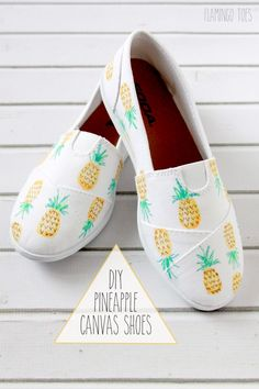 DIY Pineapple Canvas Shoes. Cute DIY project for teens! Love these! Found on www.thirtyhandmadedays.com