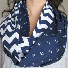 Navy anchor and chevron infinity scarf