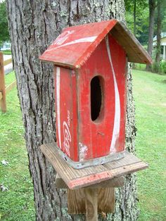 Recycled Wooden Coca Cola Crate Birdhouse Ooak