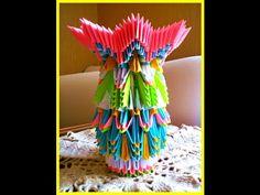 How to make 3d origami vase.Tutorial. Модульне орігамі-ваза Модульное оригами - YouTube