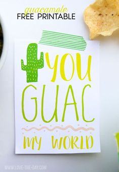 Guacamole free printable by love the day free cards to print, free printabl Birthday Card Sayings, Birthday Quotes, Free Cards To Print, Lemonade Stand Sign, Unique Baby Shower Themes, Stocking Stuffers For Men, Birthday Cards For Boyfriend, Gift Tags Printable, Printable Quotes