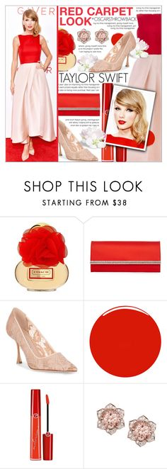 """RED CARPET LOOK"" by celine-diaz-1 ❤ liked on Polyvore featuring Judith Leiber, Manolo Blahnik, Christian Louboutin and Giorgio Armani"