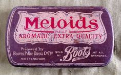 An early example of a Boots The Chemist Meloids tin, from the 1920s/30s. A very decorative little tin which once contained Meloids...for a mellow voice !...these contained liquorice, menthol, capsicum and cinnamon..and according to the inside of the lid, were a convenient way to make your voice , clear, strong and reasonant...invaluable to singers and speakers.  This tin is now in shabby chic condition...showing signs of its age..( please study photos ).. but still a lovely, collectible ...