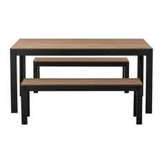 """$325. 63:Lx 39.5""""Wx 29""""H. two chairs can fit at each head.  Saw in person, nice. FALSTER Table+2 benches, outdoor IKEA"""