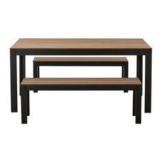 IKEA - FALSTER, Mesa+2 banco ext, negro/marrón,