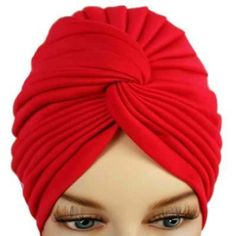 Rosy Red Bunch Pleated Turban Hat Head Cover Sun Cap Luxury Divas. $9.99
