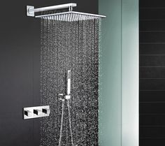 """bathroom in wall mounted  Shower Set With 10"""" 304 stainless steel ultra-thin Rain Shower set 3 hanldes valve with spout IS012 #Affiliate"""