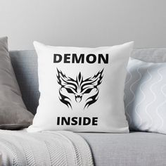 'Demon Inside' Throw Pillow by RIVEofficial Diy Couch, Diy Pillows, Throw Pillows, Bedding Master Bedroom, Funny Humour, Cozy Bed, Bed Styling, Halloween 2020, Badass