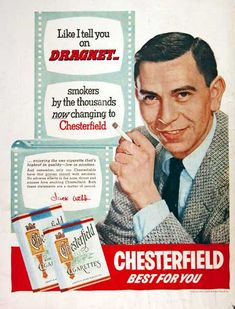 """1954 Chesterfield Cigarettes original vintage advertisement. With endorsement by TV's Sargeant Joe Friday, Jack Webb. """"Like I tell you on Dragnet, smokers by the thousands now changing to Chesterfield."""""""