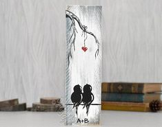 Farmhouse Style Love Birds Painting on Rustic Wood