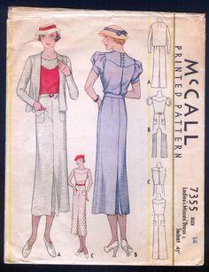 McCall 7355 | ca. 1933 Ladies' & Misses' Dress & Jacket