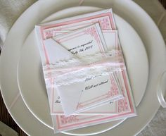Pink Wedding Invitations  pink and White by yourheartstrings, $6.00