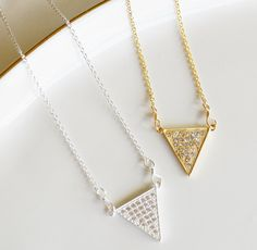 Pave Triangle Layering Necklace....Tribal by LeBijouxBee on Etsy