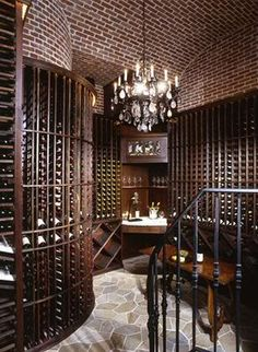 I will have this wine room! Winery Tasting Room, Wine Tasting, Caves, Home Wine Cellars, Wine Collection, Under Stairs, Wine Storage, Fine Wine, House Rooms