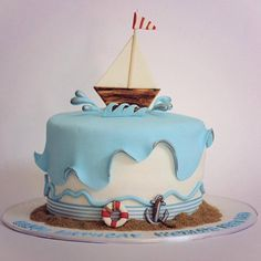 Trendy Baby Shower Themes For Boys Nautical Cake Pop Ideas Sailboat Cake, Nautical Cake, Nautical Party, Sea Cakes, Pink Cakes, Novelty Cakes, Occasion Cakes, Love Cake, Pretty Cakes