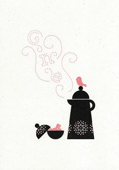 Coffee Bird Gocco print