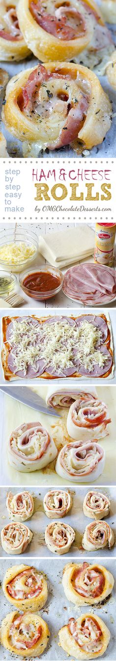 Perfect party snack - Ham and Cheese Rolls are soft and gooey, pizza style rolls.