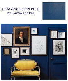 Lobstergirl said: Hague Blue by Farrow and Ball.Drawing Room Blue, Farrow and Ball.More Drawing Room Blue. Dark Blue Walls, Navy Walls, Indigo Walls, Farrow And Ball Drawing Room Blue, Interior Exterior, Interior Design, Interior Doors, Interior Decorating, Art Blanc