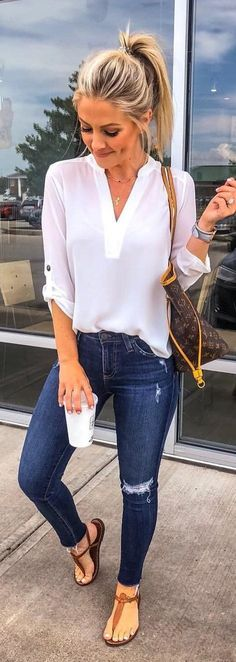 women's white chiffon long-sleeved shirt and blue jeans., Summer Outfits, women's white chiffon long-sleeved shirt and blue jeans. Fashion Mode, Look Fashion, Trendy Fashion, Womens Fashion, Trendy Style, Trendy Hair, Fashion Fall, Women Fashion Casual, 50 Style