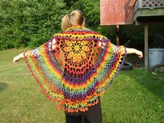rainbow crochet shawl  - love as decoration not clothing.  Think on top of a single color bed spread