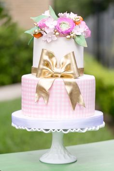 Pastel Pink Gingham & Gold Bow Tiered Cake