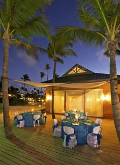 Outside dining at Ocean Blue & Sand resort in Punta Cana, Dominican Republic. Great for weddings and other special events.
