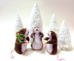 Three Mice Carolers Are A Special Edition Just For The Holiday 2015 --They are  Soft Sculpture Collectibles by WildWoodHollow on Etsy