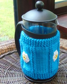 knitted coffee/ cafeteria cosy/french press by LittleDaisyKnits,