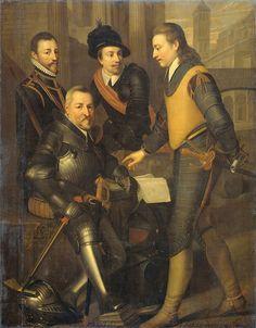 The collateral house of Nassau: Workshop of Wybrand de Geest (1592–1665) Portrait of the four brothers of Willem I, prince of Orange: Jan (1536-1606), sitting, Hendrik (1550-74), Adolf (1540-68) and Lodewijk (1538-74), counts of Nassau.circa (1630-35)oil on canvas Height: 189 cm (74.4 in). Width: 147 cm (57.9 in). Rijksmuseum Amsterdam  Inscriptions bottom left: graeff Lodewijck / van Nassau Out 36 J. / Bij Moock gebleve / Ao 1574. bottom left: Gr. Jan / van Nassa[u] bottom center…