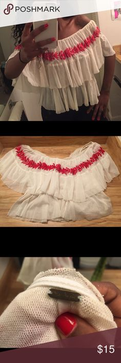 Free People Off Shoulder Ruffle Top Cute cream and red Ruffle top that goes off shoulders . Worn 2x Free People Tops Blouses