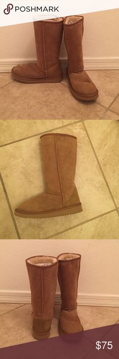 FAUX TALL UGGS - camel color - size 8 Faux Tall Uggs - camel brown - size 8. Sheepskin upper, Sheepskin instock, Synthetic sole. Never been worn - fabulous condition!! Shoes Slippers