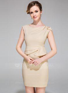 [US$ 99.99] Sheath/Column Scoop Neck Short/Mini Chiffon Cocktail Dress With Ruffle
